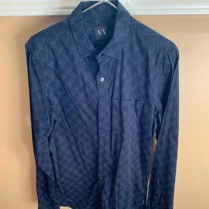 Armani exchange dress shirt navy and white size S